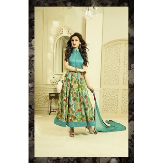 Fabliva SKY AND MULTY PRINTED BHAGALPURI PRINT ANARKALI SUIT