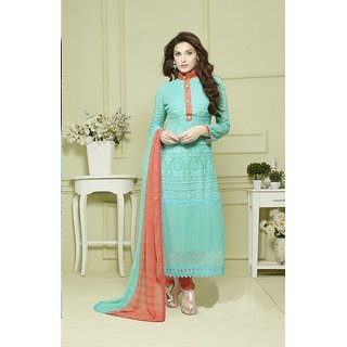 Fabliva SKY AND ORANGE EMBROIDERED PURE CHIFFON STRAIGHT SUIT (Unstitched)