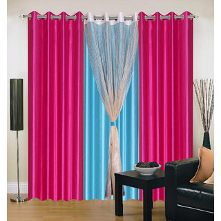 Akash Ganga Polyester Multicolor Long Door Eyelet Curtains (Set of 4) (9 Feet) CUR4-ST-404-9