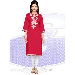 Vastrani Red Embroidered Rayon Kurti 62K407