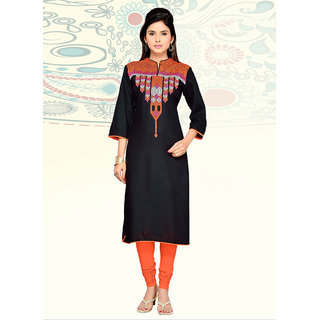 Vastrani Black Embroidered Rayon Kurti 62K408