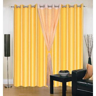 Akash Ganga Polyester Multicolor Long Door Eyelet Curtains (Set of 4) (9 Feet) CUR4-ST-408-9