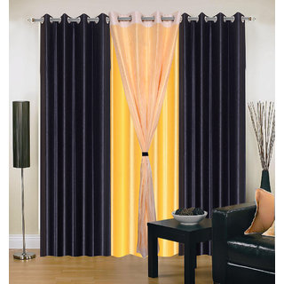 Akash Ganga Polyester Multicolor Long Door Eyelet Curtains (Set of 4) (9 Feet) CUR4-ST-409-9