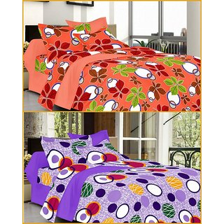 Summer Special 2 Double Bed Sheets with 4 Pillow Covers by Valtellina