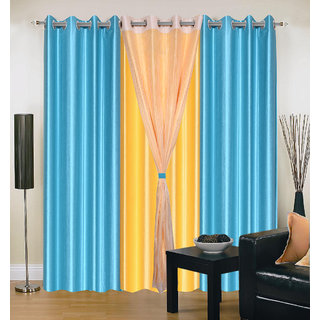 Akash Ganga Polyester Multicolor Long Door Eyelet Curtains (Set of 4) (9 Feet) CUR4-ST-415-9