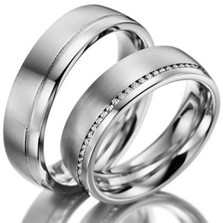 RM Jewellers CZ 92.5 Sterling Silver American Diamond Best Loving Couple Band For Men and Women