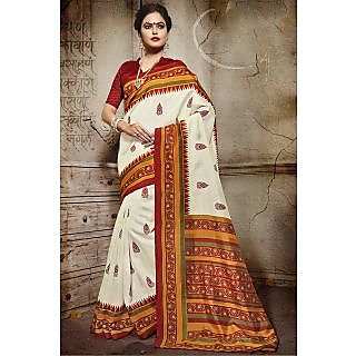 Sareemall Cream Art Silk Printed Saree With Blouse