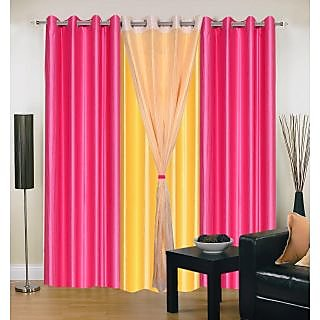 Akash Ganga Polyester Multicolor Long Door Eyelet Curtains (Set of 4) (9 Feet) CUR4-ST-417-9