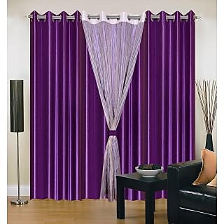 Akash Ganga Polyester Multicolor Long Door Eyelet Curtains (Set of 4) (9 Feet) CUR4-ST-418-9