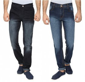 Wajbee Mens Stretchable Slim Fit Faded Black and Blue Color Jeans-Pack of 2
