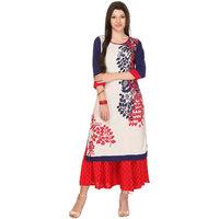 Keshvi Fashions White Printed Rayon Straight Kurti