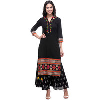 Keshvi Fashions Black Embroidered Cotton Straight Kurti