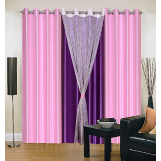 Akash Ganga Polyester Multicolor Long Door Eyelet Curtains (Set of 4) (9 Feet) CUR4-ST-419-9