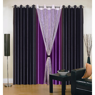 Akash Ganga Polyester Multicolor Long Door Eyelet Curtains (Set of 4) (9 Feet) CUR4-ST-423-9