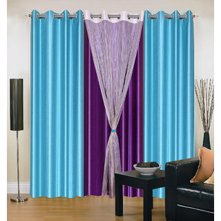 Akash Ganga Polyester Multicolor Long Door Eyelet Curtains (Set of 4) (9 Feet) CUR4-ST-424-9