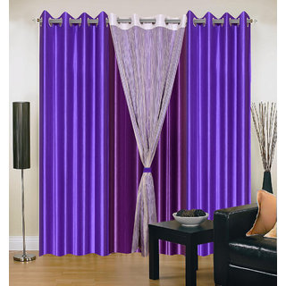 Akash Ganga Polyester Multicolor Long Door Eyelet Curtains (Set of 4) (9 Feet) CUR4-ST-425-9