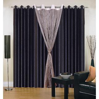 Akash Ganga Polyester Multicolor Long Door Eyelet Curtains (Set of 4) (9 Feet) CUR4-ST-428-9