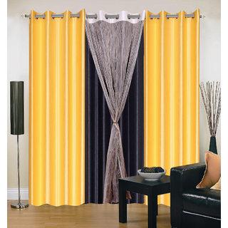 Akash Ganga Polyester Multicolor Long Door Eyelet Curtains (Set of 4) (9 Feet) CUR4-ST-432-9