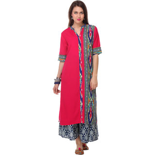 Varanga Pink Printed Rayon Stitched Kurti
