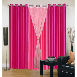 Akash Ganga Polyester Multicolor Long Door Eyelet Curtains (Set of 4) (9 Feet) CUR4-ST-437-9