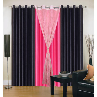Akash Ganga Polyester Multicolor Long Door Eyelet Curtains (Set of 4) (9 Feet) CUR4-ST-439-9