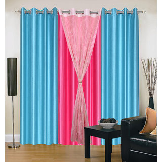 Akash Ganga Polyester Multicolor Long Door Eyelet Curtains (Set of 4) (9 Feet) CUR4-ST-440-9
