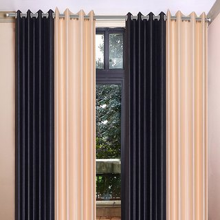 Akash Ganga Polyester Multicolor Long Door Eyelet Curtains (Set of 4) (9 Feet) CUR4-ST-452-9