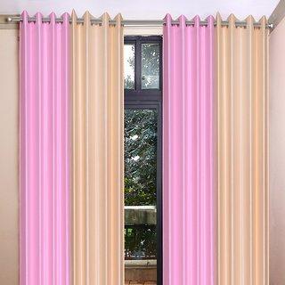 Akash Ganga Polyester Multicolor Long Door Eyelet Curtains (Set of 4) (9 Feet) CUR4-ST-454-9