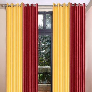 Akash Ganga Polyester Multicolor Long Door Eyelet Curtains (Set of 4) (9 Feet) CUR4-ST-461-9
