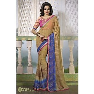 1 Crazy Designer Multicolor Georgette Floral Saree With Blouse