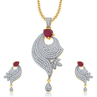 Sukkhi Irresistable Gold And Rhodium Plated Ruby CZ Pendant Set For Women