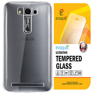 Evoque Transparent Back Cover For Zenfone 2 Laser ZE550KL (5.5 inch) With Tempered Glass
