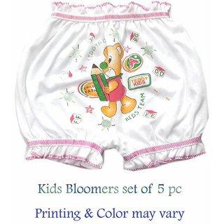 Kids  White base Cotton Cartoon Bloomers (Set of 5)