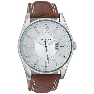 Titan Quartz Silver Round Men Watch 9322sl03