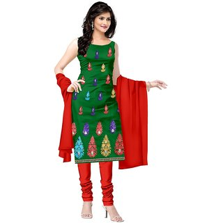 Shaili Green Crap Unstitched Dress Material