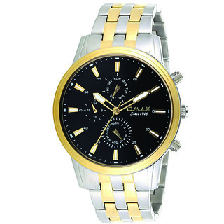 Omax Analog Two Tone Day and Date Stainless Steel Men Watch