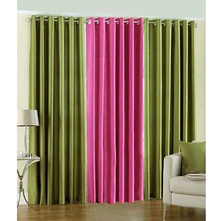 Akash Ganga Polyester Multicolor Eyelet Door Curtains (Set of 3) (7 Feet) CUR3-ST-105-7