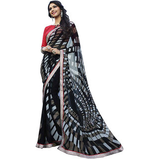 Shree Vardhman Black Georgette Unstiched Saree
