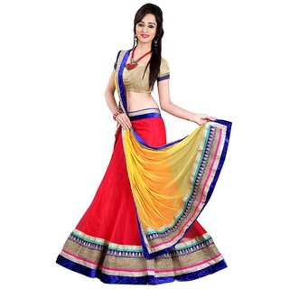 Aagaman Fashions Trendy Red Colored Border Worked Net Lehenga Choli