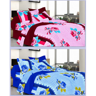 Valtellina India Combo of 2 Cotton Double bedshets with 4 Pillow Covers