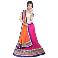 Triveni Lovely Magenta Colored Border Worked Net Lehenga Choli