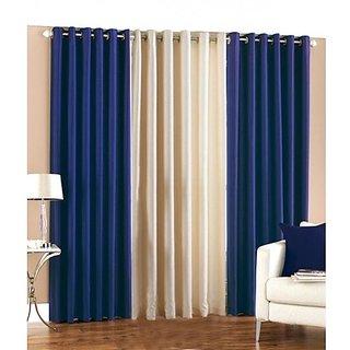 Akash Ganga Polyester Multicolor Eyelet Door Curtains (Set of 3) (7 Feet) CUR3-ST-106-7