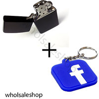 Earth Black Zippo Type Lighter   Facebook Keychain Combo