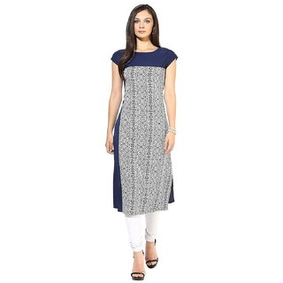 Blue Crepe Half Sleeve Round Neck Regular Fit Printed Kurta