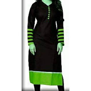 Designer Women/Girls/Ladies black and parrot green long top /cotton  kurta / kurti