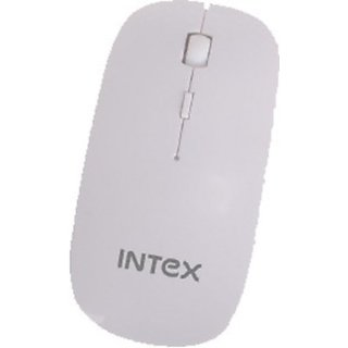 Intex Mouse Wireless Piano Wireless Optical Mouse(USB, White)