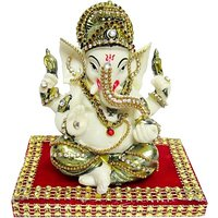 Creativity Centre Glorious Ganpati Ganesha Idol On Aasan Showpiece - 10 Cm(Polyresin, Multicolor)