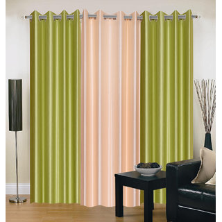 Akash Ganga Polyester Multicolor Eyelet Door Curtains (Set of 3) (7 Feet) CUR3-ST-127-7