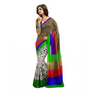 Thankar online trading Multicolor Bhagalpuri Silk Printed Saree With Blouse