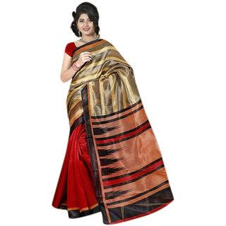 Thankar online trading Multicolor Bhagalpuri Silk Printed Saree With Blouse